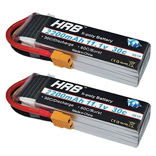 HRB 2packs 3s 11.1V 2200mAh 30C Lipo Battery XT60 Plug for RC Trex 450 500 Helicopter Quadcopter RC Car (4.17 x 1.34 x 0.87 Inch) -