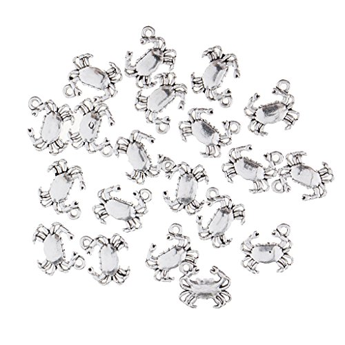 (Baoblaze 20 Pieces Alloy Nautical Themed Charms Beach Crab Turtle Shell Charms Pendant Jewelry Making - Crab)