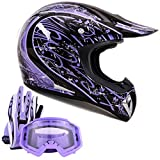 Adult Offroad Helmet Goggles Gloves Gear Combo Purple Splatter (Small)