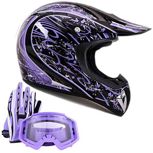 Adult Offroad Helmet Goggles Gloves Gear Combo Purple Splatter (Medium)