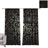 berrly Blackout Grommet Curtains Damask Wallpaper, Black Design W96 x L96 Kids Blackout Curtains