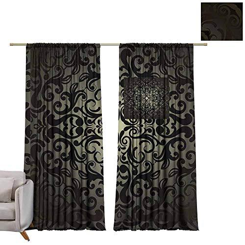 Measure Blackout Lined Drapery - berrly Grommet Blackout Curtains Damask Wallpaper, Black Design W108 x L84 Art Drapery Panels