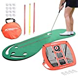 Rukket Putting Green & Golf Chipping Net Bundle | Indoor & Outdoor Practice Greens | Mats For Home & Office | Portable Golfing Target Accessories | Alignment Sticks | Limited Flight Balls