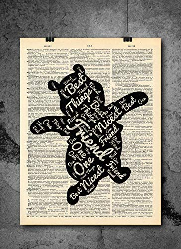 Winnie The Pooh - Friend - Inspirational Quote Art - Vintage Dictionary Print 8x10 inch Home Vintage Art Abstract Prints Wall Art for Home Decor Wall Decorations Ready-to-Frame