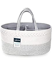 StarHug Baby Diaper Caddy Organizer – Baby Shower Basket with 2 Inner Pockets, Cleanable Interior, 100% Cotton Rope, Eco-Friendly, Large