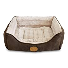 Best Pet Supplies Faux Leather Square Bed, X-Large, Dark Brown (Xl)