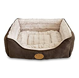 Best Pet Supplies - Premium Faux Leather Polyester Filled Plush Square Bed - X-Large, Dark Brown