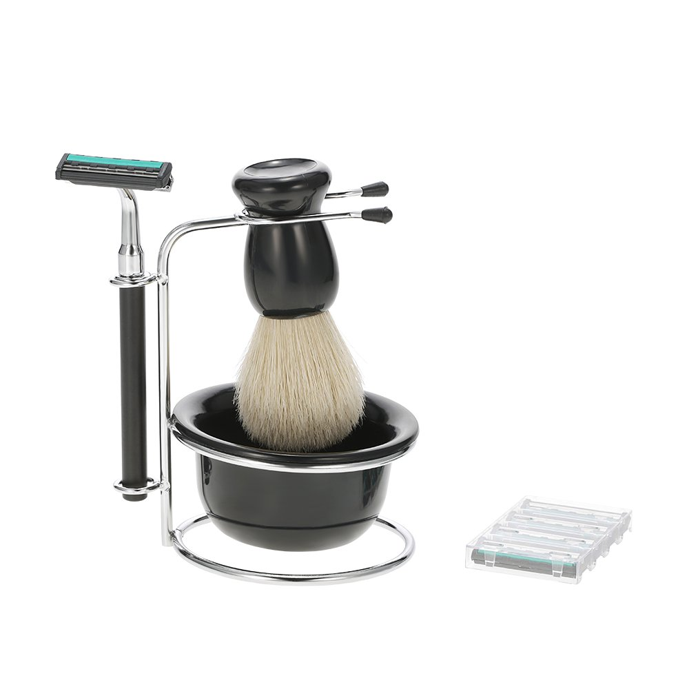 Anself 4 in 1 Men's Dry and Wet Face Cleaning Razor Set + Razor + Soap Bowl + Brush Brush Brush Men's Tool W4324-HMMFBA