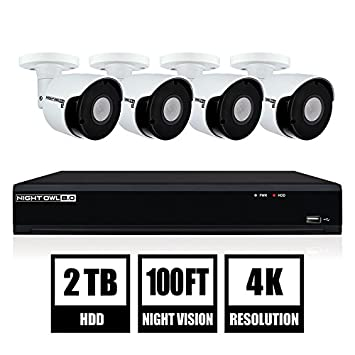 Night Owl Security 8-Ch 4K UHD IP Wired Smart Security Camera NVR with 2 TB Local Storage, White IH802-84BA-B