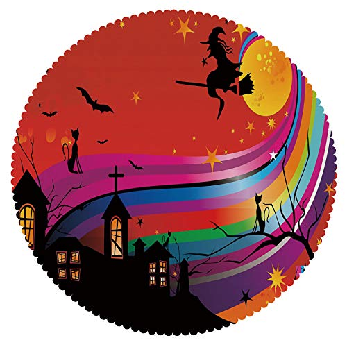 iPrint No Chemical Odor Round Tablecloth [ Halloween,Witch Woman on Broomstick Bats Cat Stars Rainbow Moon Castle Abstract Colorful Decorative,Multicolor ] Home Accessories Home Decoration -