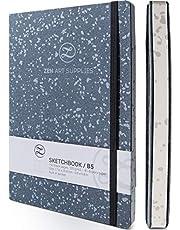 ZenART Leder Schetsboek voor Kunstenaars - 160 Lege Pagina's van 120 GSM Zuurvrij Ivoorkleurig Papier - B5 Formaat, 17,6 x 25 cm, Plat, Biologisch Afbreekbaar, Zakboek voor Verschillende Materialen