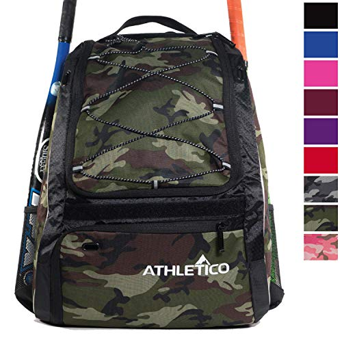 Athletico Baseball Bat Bag - Backpack for Baseball, T-Ball & Softball Equipment & Gear for Youth and Adults | Holds Bat, Helmet, Glove, Shoes |Shoe Compartment & Fence Hook (Green Camo)