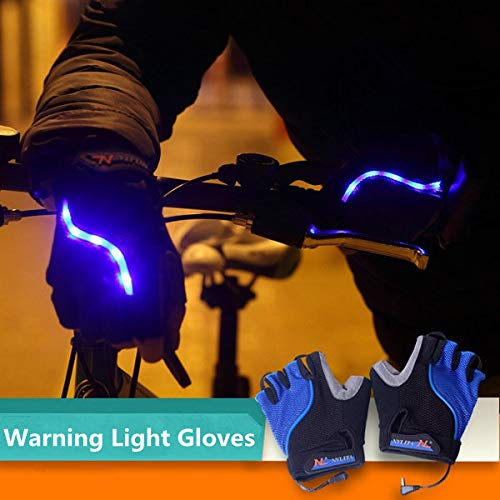 Bicycle Bike Cycling Gloves LED Lighting Half Finger Gloves by Anddoa (Image #5)