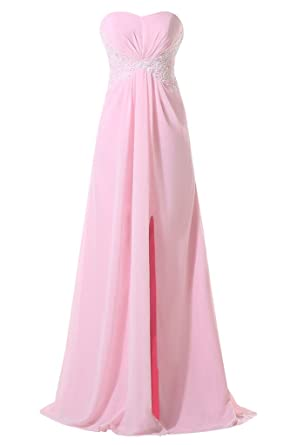 HONGFUYU Pink Chiffon Long Bridesmaid Formal Evening Prom Dress US2