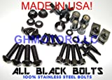 GHMotor 2008 2009 2010 2011 2012 2013 2014 2015 2016 Yamaha Yzf R6 Complete All Black Fairings Bolts Fasterners Kit Made In USA