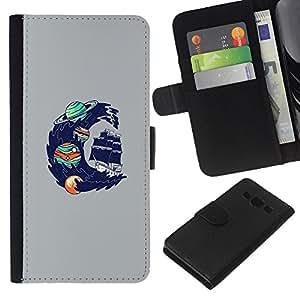 JackGot ( Psychedelic Espacio Oceánica Wave ) Samsung Galaxy A3 la tarjeta de Crédito Slots PU Funda de cuero Monedero caso cubierta de piel