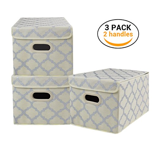 Foldable Storage Box Bins Cubes with Lid, Basket Cloth Closet Shelf Nursery Organizer for Home, Office,Bedroom,Clothes, Laundry,Toys with Plastic Handles, Large Set of 3 Beige with Silver Pattern