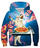 AIDEAONE Boys Hooded Sweatshirts Pizza Cat Cute Pullover Hoodies for Girls Fashion Clothes Size 12-14