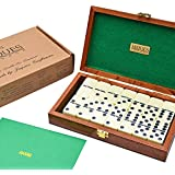Luxury Dominoes - Double Six Dominoes Set in Handmade Mahogany Case - Jaques of London