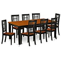 East West Furniture QUNI9-BCH-W 9 Piece Dining Table with 8 Wooden Chairs Set