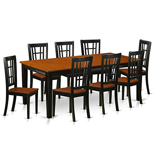 East West Furniture QUNI9-BCH-W 9 Piece Dining Table with 8 Wooden Chairs Set ()