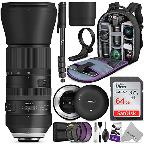 Tamron SP 150-600mm F/5-6.3 Di VC USD G2 Lens for Canon DSLR Cameras w/Tamron Tap-in Console and Essential Photo and Travel Bundle