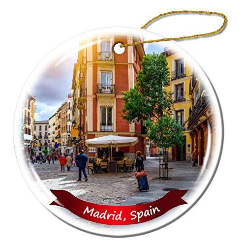 Fhdang Decor Madrid Spain Christmas Ornament Porcelain Double-Sided Ceramic Ornament,3 - Real Ceramic Madrid