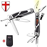Multitool Pliers with Knife and Flashlight – Small EDC Pocket Folding Spring Loaded Multi Tool with Saw – Portable Tactical Utility Multi-Function Mini Tool – Grand Way 2611 – B1