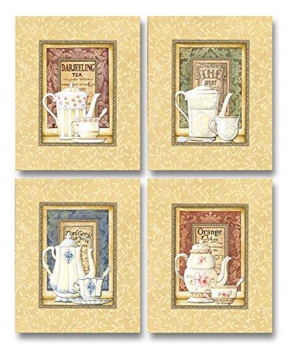 Tea Time! Lovely, Vintage Teapot and Teacup Set; Kitchen Decor; Four 8 x 10 Poster Prints