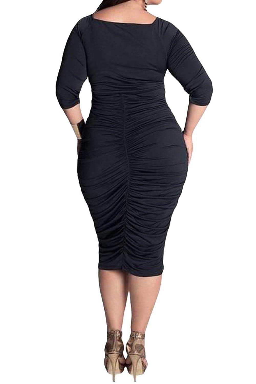 Amazon Lasuiveur Womens V Neck Low Bust Cascading Ruffle Slim