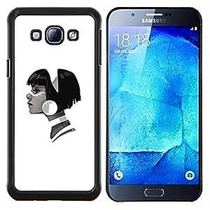 YiPhone /// Prima de resorte delgada de la cubierta del caso de Shell Armor - Perfil Retrato muchacha grande pendiente Fashion Art - Samsung Galaxy A8 A8000