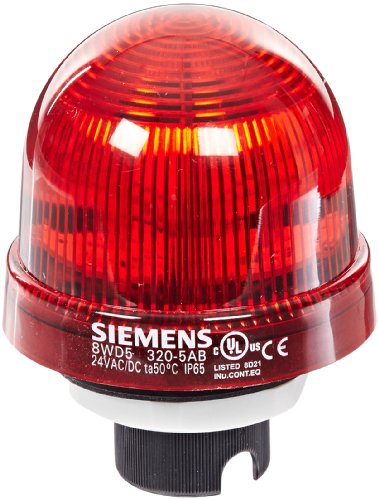 Siemens 8WD53 20-5AB Sirius Signal Column Beacon, Thermoplastic Enclosure, IP65 Protection, 70mm Diameter, LED Lamp, Steady Light, UC 24 V Rated Voltage. Red by SIEMENS (Image #1)