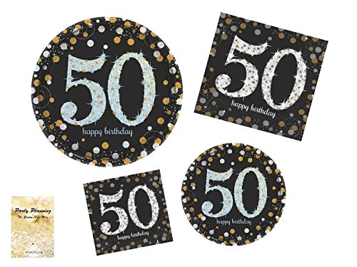 Love Lunch Napkins - 50th Birthday Party Supplies, Sparkling Celebration Design, Bundle of 4 Items: Dinner Plates, Dessert Plates, Lunch Napkins and Beverage Napkins