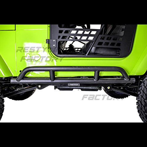 Restyling Factory 97-06 Jeep Wrangler TJ Rock Crawler Body Side Armor Rocker Guard Rock Sliders Guard 1 Pair (Black)