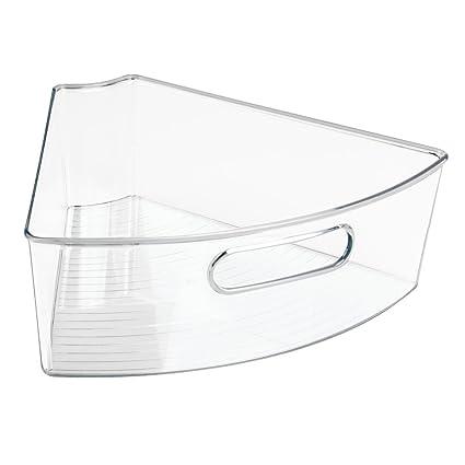 InterDesign Bandeja Giratoria, Cuña de Canasto, Plástico, Blanco, 31.75x26.75x10