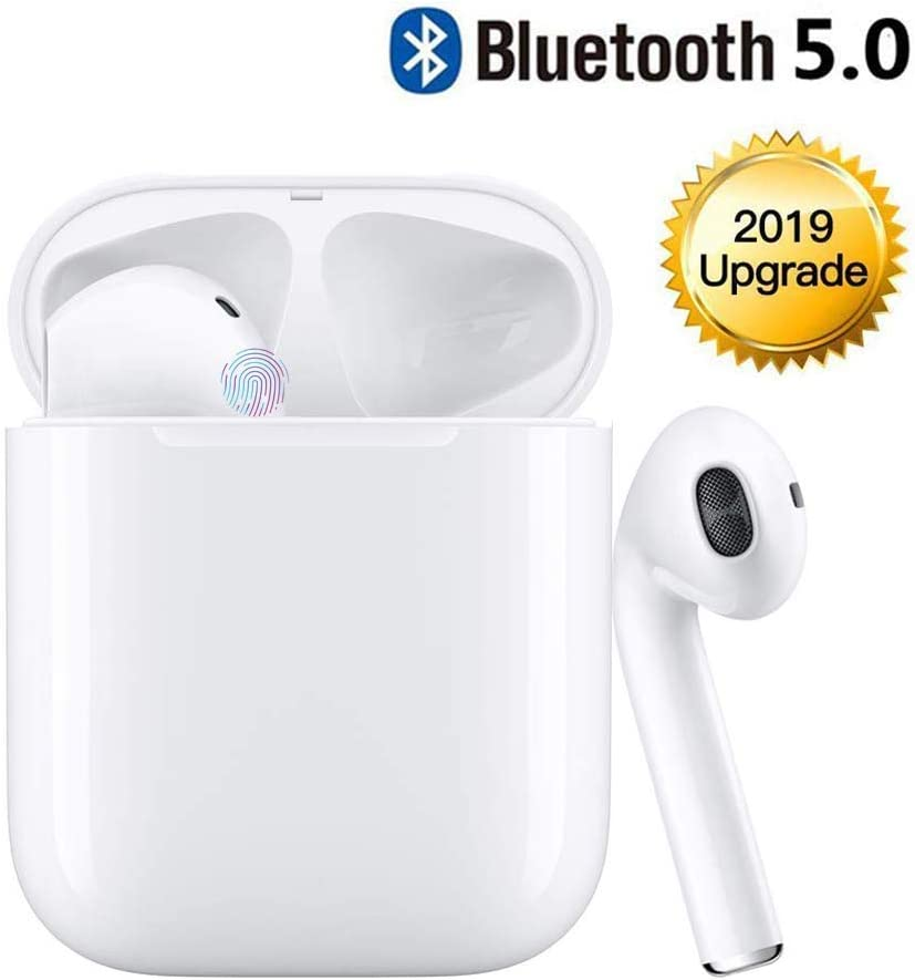 Bluetooth Headset Wireless Earbuds Bluetooth 5.0 Stereo Noise Cancelling Headphones Built-in Microphone Fast Charge Box Compatible with iphone ipad Samsung Android White
