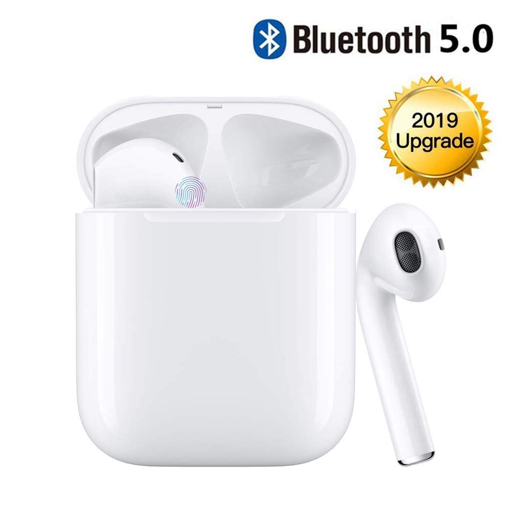 Bluetooth Headset Wireless Earbuds Bluetooth 5.0 Stereo Noise Cancelling Headphones Built-in Microphone Fast Charge Box Compatible with iPhone Airpods Samsung Android White