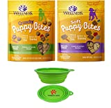 Wellness Puppy Bites for Dogs Variety Bundle 2 Pack (Lamb Salmon & Chicken Carrots) W Bonus Hot Spot Pet Travel Bowl