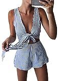 WLLW Women Sleeveless V Neck Tie Front Striped Crop Tops Short Pants Suit Set,Blue,US S