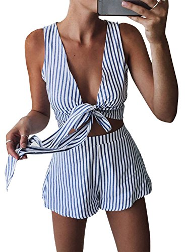 WLLW Women Sleeveless V Neck Tie Front Striped Crop Tops Short Pants Suit Set, Blue/White, Medium - Blouse Set