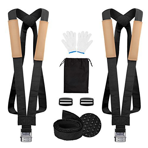Shoulder Strap System (GOOACC Moving Straps, 2 Person Lifting and Moving System with Sponge Shoulder Pad Anti-Slip Lifting Straps Easily Move, Lift, Carry and Secure Furniture, Appliances or Heavy Objects Without Back Pain)