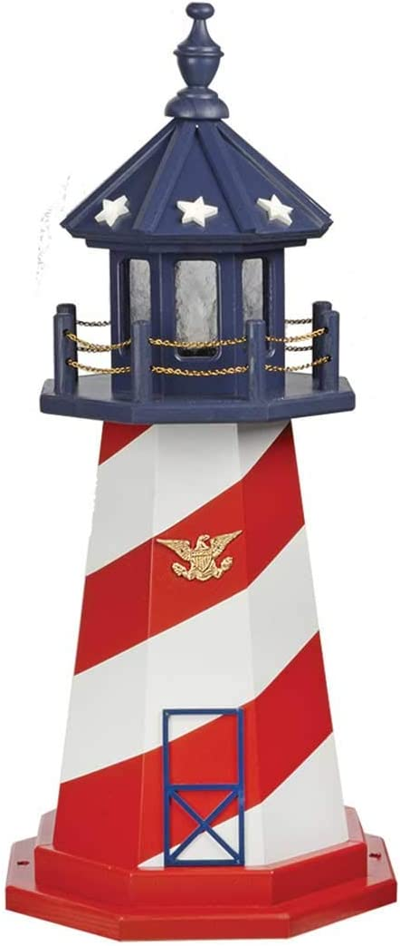Country Living Primitives Amish Handcrafted Wood Garden Lighthouse - Patriotic Hatteras - Assorted Sizes - Red, White, Blue (3 Foot)
