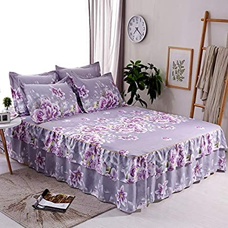 Home Flower Floral Bed Skirt Pillowcase Dust Ruffle Bedspread All Size Bed Sheet