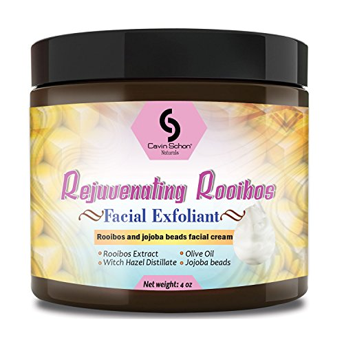4 oz Rejuvenating Rooibos Facial Exfoliant - With all natural Jojoba beads, calming aloe and moisture boosting coconut, olive, and jojoba oils. Rejuv Oil