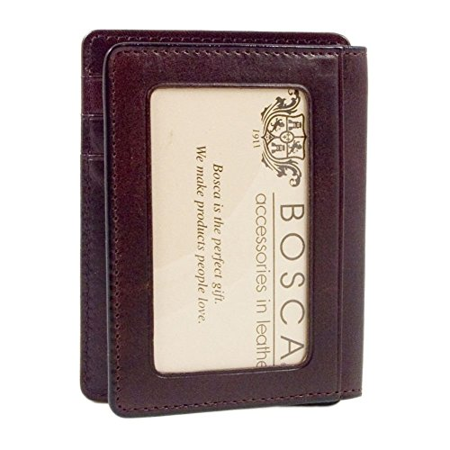 Bosca Dark Brown Old Leather Front Pocket ID Wallet