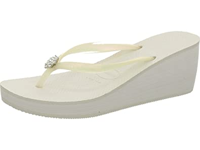 b1ca0fb3628aa Havaianas Women s High Fashion Poem Wedge Rubber Flip Flop White-White-6 7