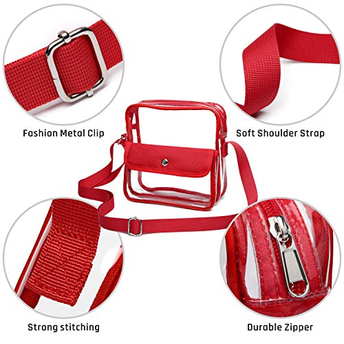 iSPECLE Clear Purse, Clear Stadium Bag Approved for Casino, NFL, PGA, NCAA, Adjustable 4.92ft Shoulder Strap for Women Girl, Red by iSPECLE (Image #4)