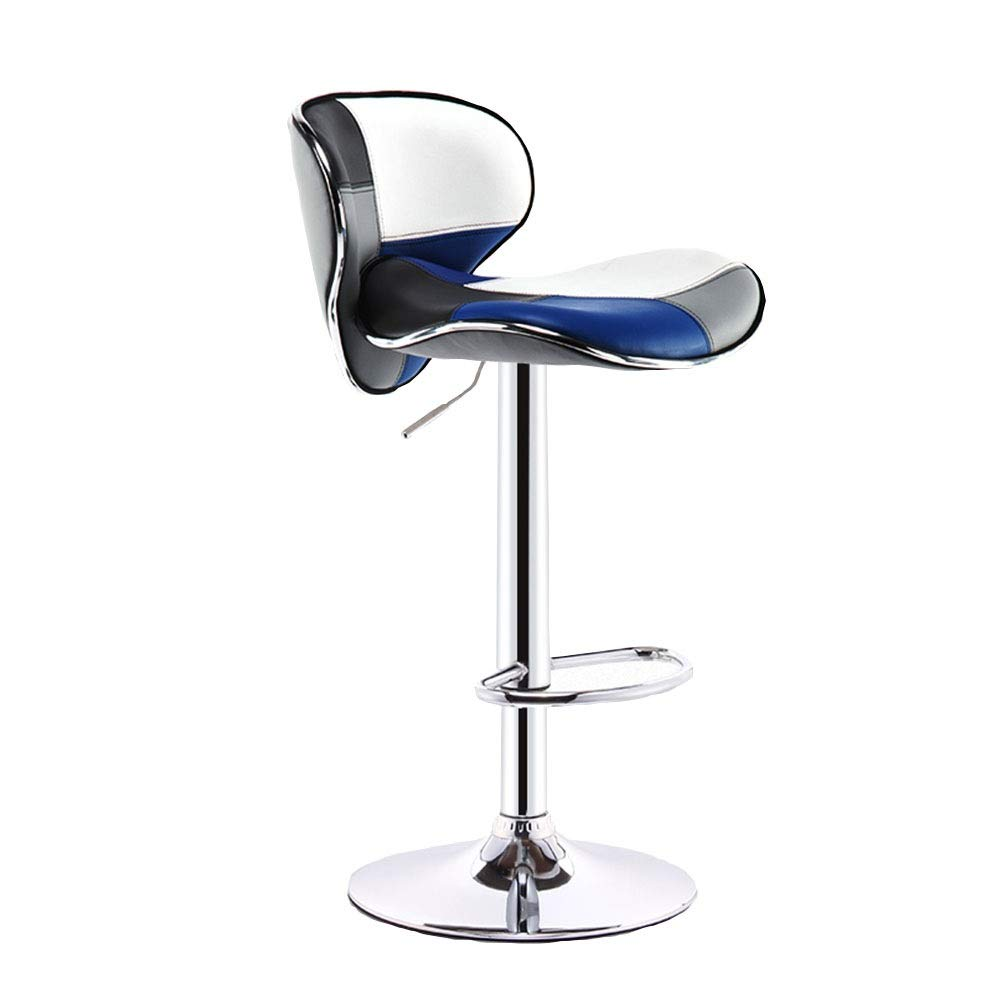 bluee+white Bar Stools 360° Swivel Bar Chairs Adjustable Tall Chairs with Backrest Footrest Breakfast Stools for Kitchen, Counter (color Optional) (color   Red)