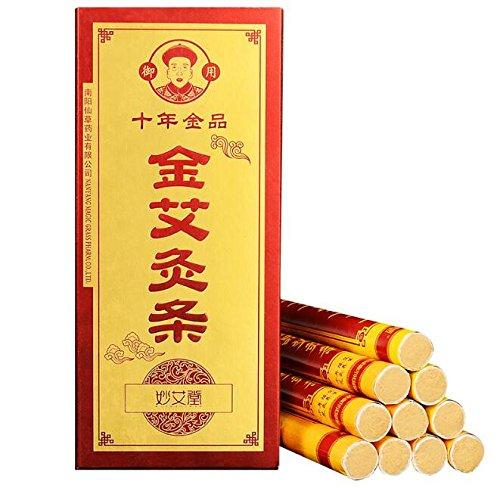 50:1 High Purity Golden Moxa Sticks, Tens Years Chen Superior Moxa Rolls Pure for Mild Moxibustion Heat Treatment-10 pics