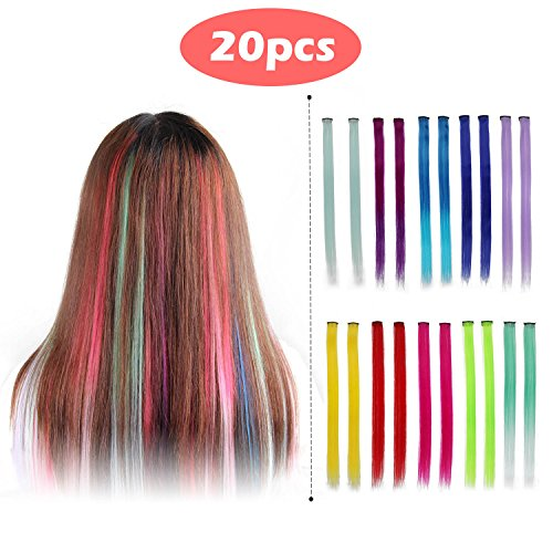Beauty : Aisibeauty 20pcs Colored Clip Hair Extensions Hairpieces 10 Multi-colors Straight Synthetic Long Hair Party Highlights Hair (10 Colors 20 Pcs in Set -Straight)